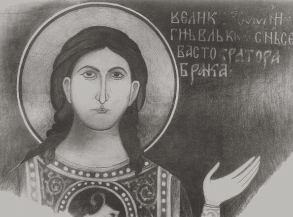 18-ти летний Вук Бранкович (1363), фреска из собора св. Богомате